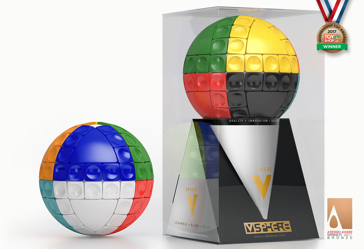 V-SPHERE™ - 3D Sliding Spherical Puzzles - Scramble, Slide, Solve!